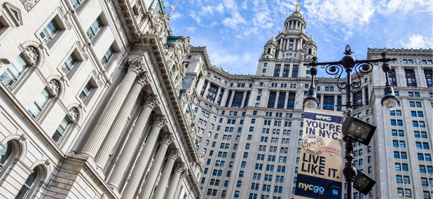 The Manhattan Municipal Building, at right, with the Hall of Records, at left, near City Hall in New York City.