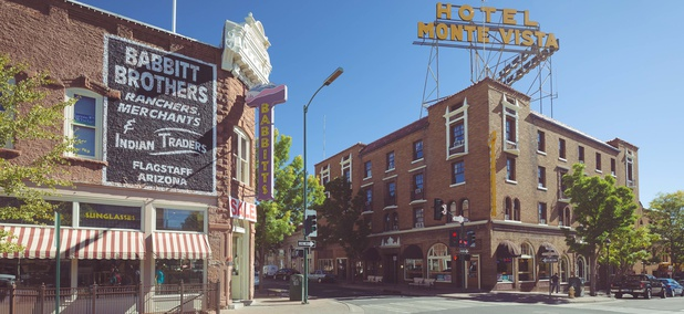 The historic city center of Flagstaff, Arizona.