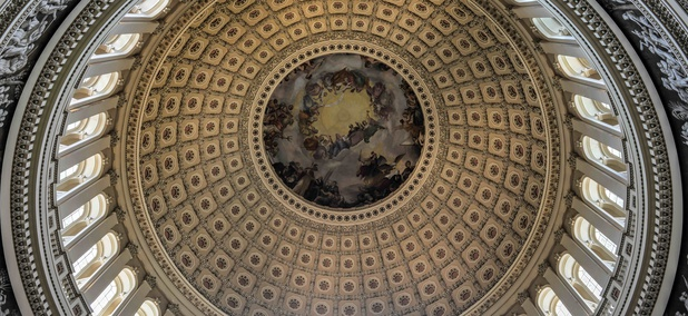 The dome inside of U.S. Capitol in Washington, D.C.