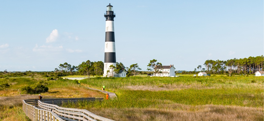 Bodie Island Lighthouse in the Cape Hatteras National Seashore in North Carolina.
