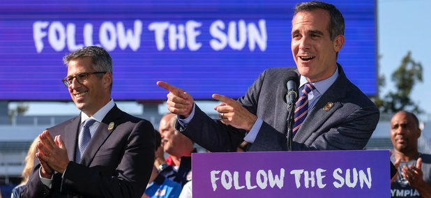 Los Angeles Mayor Eric Garcetti speaks during a press conference to make an announcement for the city to host the Olympic Games and Paralympic Games in 2028.