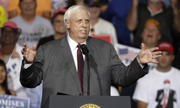 West Virginia Gov. Jim Justice speaks during a rally Thursday, Aug. 3, 2017, in Huntington, W.Va.