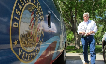 Vietnam veteran and Veterans Affairs Department volunteer Durward Forbes of Alamogordo, N.M., discusses the challenges of transporting veterans hundreds of miles from Otero County to medical appointments in Albuquerque, N.M.