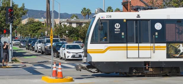 An Expo Line train in Santa Monica, California