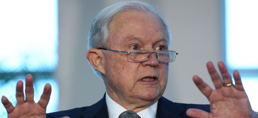 U.S. Attorney General Jeff Sessions speaks during a news conference Wednesday at PortMiami.