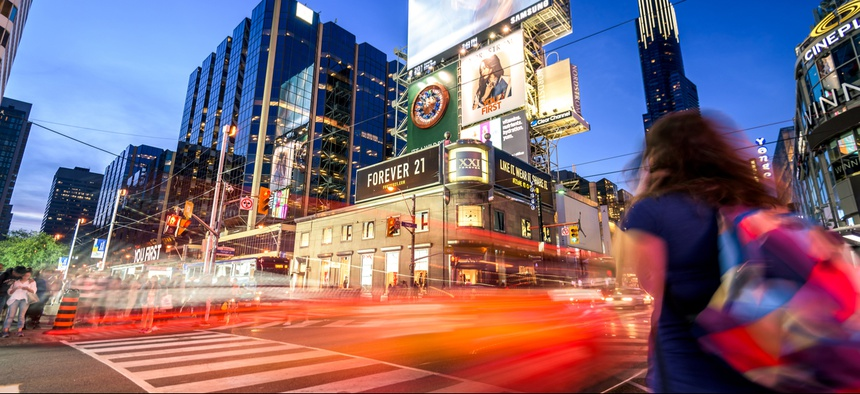 The intersection of Yonge and Dundas streets in Toronto.