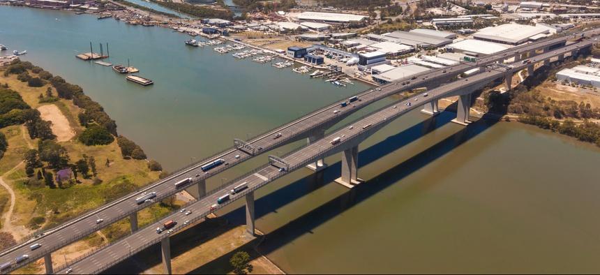 The Sir Leo Hielscher Bridges are part of Queensland Motorways in southeast Queensland, Australia.