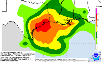 A rainfall forecast for Texas and surrounding states for the coming days.