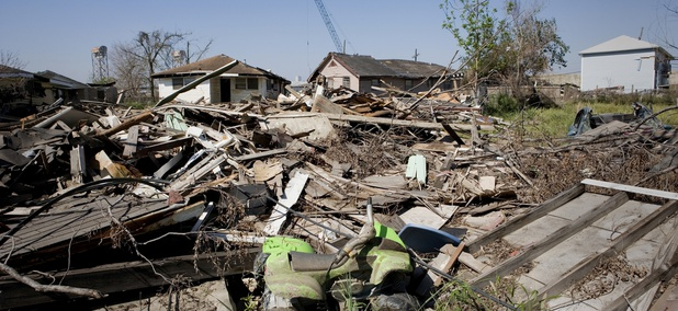 Damage in the Lower Ninth Ward of New Orleans following Hurricane Katrina.