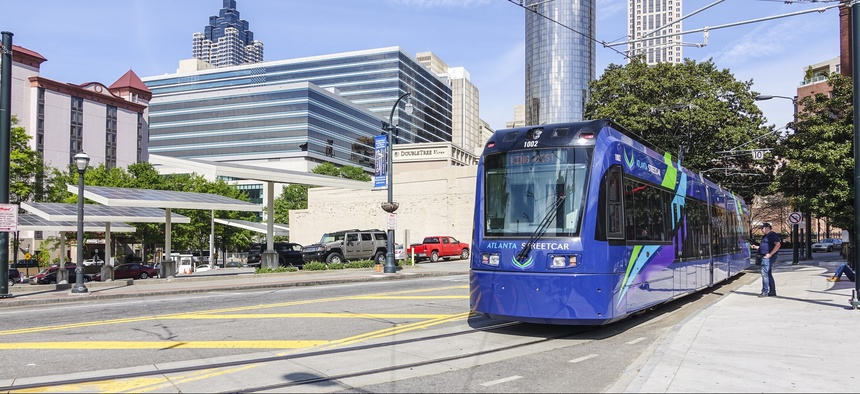 A streetcar in Atlanta, on April, 2016.