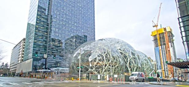 "Amazon's three glass ""biosphere domes"" under construction in Seattle in February, 2017."