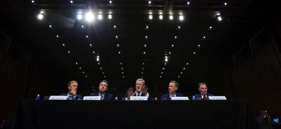 Governors from left; Bill Haslam of Tennessee, Steve Bullock of Montana, Charlie Baker of Massachusetts, John Hickenlooper of Colorado and Gary Herbert of Utah speak at a Senate hearing on Thursday, Sept. 7, 2017.
