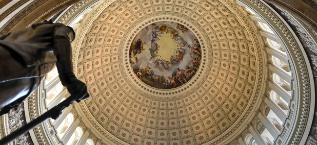 The dome inside the U.S. Capitol.