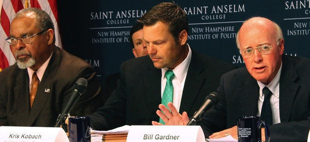 New Hampshire Secretary of State Bill Gardner, right, introduces one of the speakers at a meeting of the Presidential Advisory Commission on Election Integrity on Tuesday in Manchester, New Hampshire.