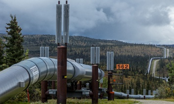 The Trans-Alaska oil pipeline.