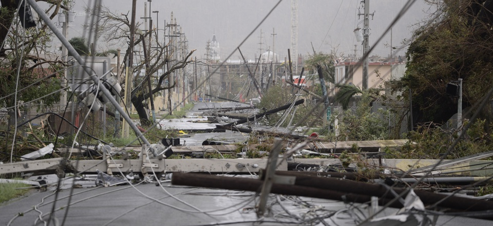 Electricity poles and lines lay toppled on the road after Hurricane Maria hit the eastern region of the island, in Humacao, Puerto Rico, Wednesday, Sept. 20, 2017.