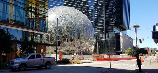 Part of the Amazon.com Inc headquarters campus in the Denny Triangle neighborhood of Seattle.