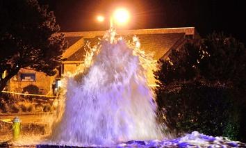 A water line break in Newport, Oregon in 2013.