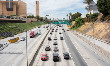 U.S. Highway 101 in downtown Los Angeles, during April 2017.