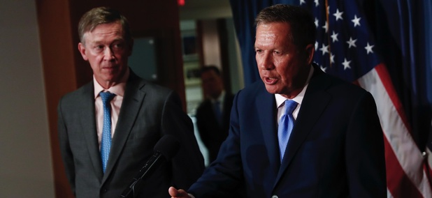 Ohio Gov. John Kasich, right, joined by Colorado Gov. John Hickenlooper.