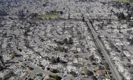 The Coffey Park neighborhood in Santa Rosa, California following last week's wildfire.