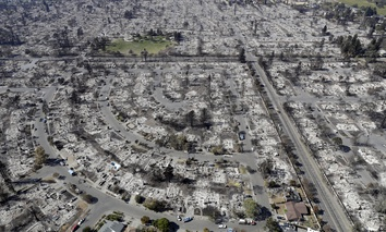 The Coffey Park neighborhood in Santa Rosa, California following last week's wildfire.