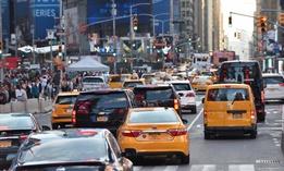 Traffic in midtown Manhattan during August, 2017.
