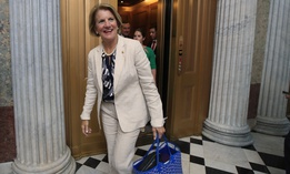Sen. Shelley Moore Capito, R-W.Va., walks towards the Senate floor on Capitol Hill in Washington, in July of 2017.