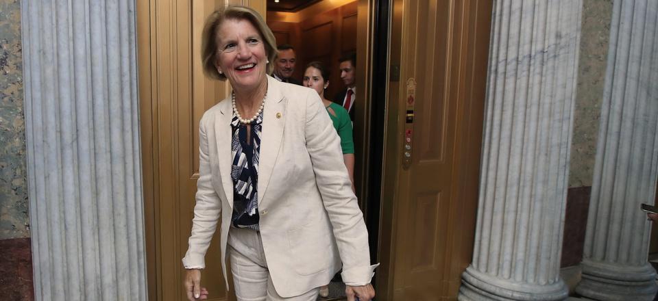 Sen. Shelley Moore Capito, R-W.Va., walks towards the Senate floor on Capitol Hill in Washington, in July of 2017.