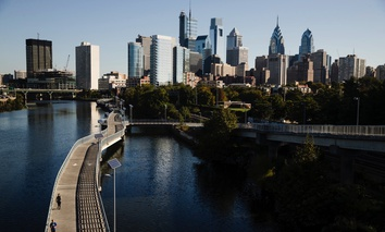 Shown is the Schuylkill River and view of the Philadelphia skyline on Wednesday. Could the city wind up hosting Amazon's HQ2?