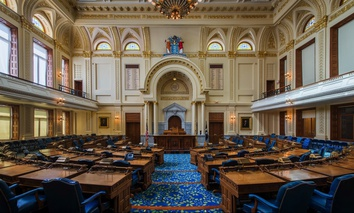 The General Assembly chamber of the New Jersey State House.
