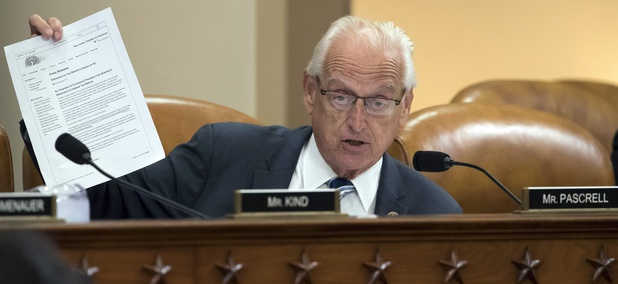 Rep. Bill Pascrell, D-N.J., object to the Republican tax plan as he holds up a letter from the New Jersey Chamber of Commerce during the markup, on Capitol Hill in Washington, Monday, Nov. 6, 2017.