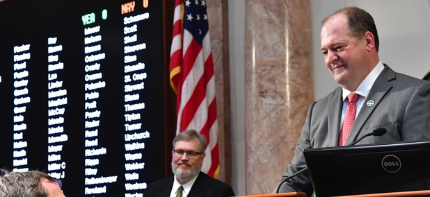 Republican Kentucky state Rep. Jeff Hoover, right, resigned his post as House speaker this month after he was accused of sexual harassment.