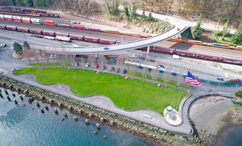 The BNSF freight rail tracks near the Port of Tacoma in Washington state.