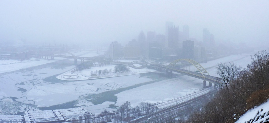 Pittsburgh, as seen during a winter storm in January 2014.