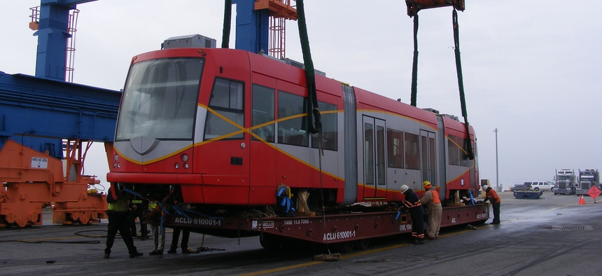 This D.C. streetcar vehicle arrived at the Port of Baltimore in 2009. It's now 2015 and D.C.'s streetcar line still isn't open to passengers.