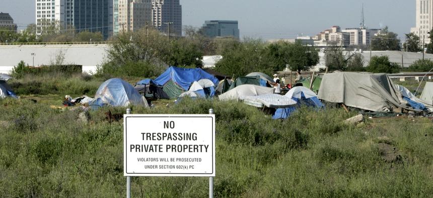 An example of a homeless encampment in Sacramento, California.