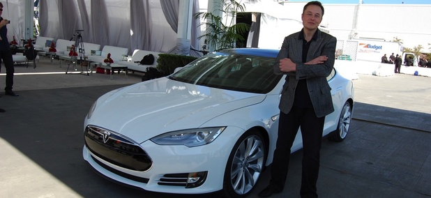 Elon Musk at his Tesla Factory in Fremont, California
