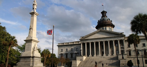 The Confederate battle flag flies outside the State House in Columbia, South Carolina.