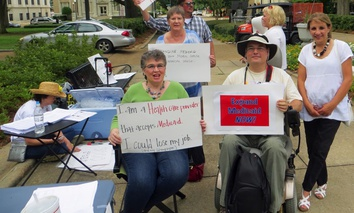A rally supporting Medicaid expansion in June 2013 in Jackson, Mississippi. The state continues to refuse federal funds to implement the Affordable Care Act.