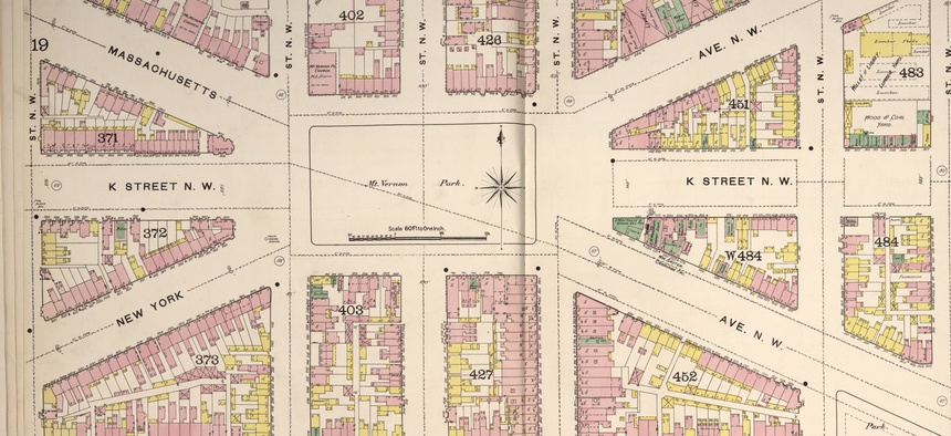 Massachusetts and New York avenues intersect at what is today known as Mt. Vernon Square, as seen in this 1888 Sanborn Fire Insurance map.