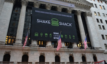 New York Stock Exchange celebrating the Initial Public Offering of Shake Shack in January in New York City.