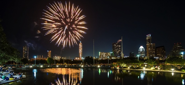 Fourth of July fireworks over Austin, Texas.