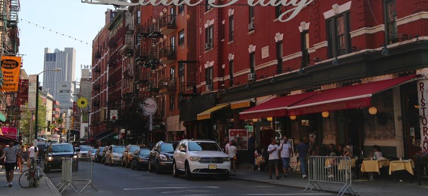 The Italian neighborhood of Little Italy in Lower Manhattan, New York City.