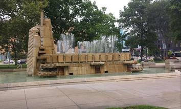 The fountain in Bronson Park in downtown Kalamazoo, Michigan