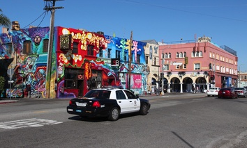 A squad car on the streets of Venice Beach, California.