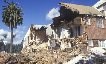 An apartment building in Santa Monica, California, sustained major damage in the 1994 Northridge earthquake that hit the L.A. area.