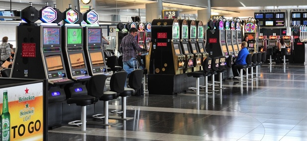 Slot machines in McCarran International Airport in Las Vegas, Nevada.