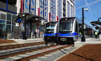 Light rail in Charlotte, North Carolina.