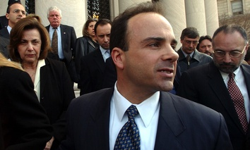 Bridgeport, Conn., Mayor Joseph Ganim leaves U.S. District Court in New Haven, Conn., Wednesday, March 19, 2003, after he was found guilty on 16 of 21 federal corruption charges.